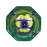 Moorcroft Pansy Pattern Octagonal Ashtray - Made in England.