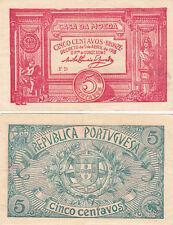 P98. Masonic Currency Portugal Casa De La Moeda 5 Centavos Banknote 1918 VF