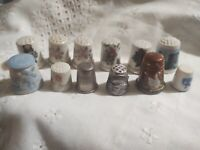 * 12 Porcelain Wood Metal Sewing Thimbles VTG