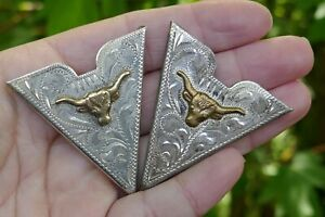 Vintage Hand Engraved Sterling Silver & Gold Accent Western Collar Tips - 23.3G.