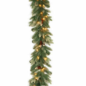 9' Copenhagen Spruce Garland with Flocked Cones & 50 Clear Lights Christmas