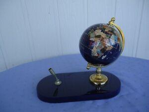 vintage blue  world globe pen holder  desk set brass stone marble style