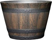 9 Inch Resin Barrel Planter Indoor Outdoor Large Flower Plant Pot Garden Decor