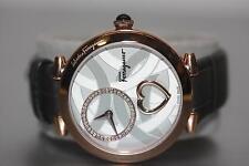 Ferragamo Cuore 39mm Rose Gold Plated Case Diamond Watch W/ Alligator Grey Strap