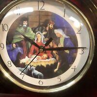 Fancy Religious Clock. Quartz Accuracy Laurel Precision Timepiece Nativity NIB