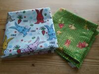 Fat Quarter Bundle of 2 Fabrics Veg Gingham & Rabbits Fabric Crafting Easter New