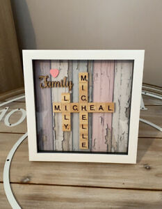 Personalised Family Scrabble Letter Box Frame Picture Present Mum Dad
