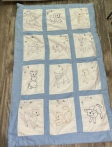 Vintage Hand Quilted Embroidered Baby Animals MCM Crib Quilt Blanket 32x52 FLAW