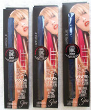 LOT of 3..REAL HUMAN HAIR...EXTENSIONS..NEW..CLIP-IN..LAPIS BLUE..U.S.A..NEW