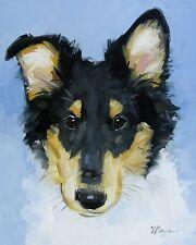 Pintura al óleo originales-Retrato de mascotas-áspero Perro Collie-por J Payne