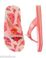 NWT Gymboree Girls Swim Shop Watermelon Pink Flip Flops 2-3 Beach Sandals Shoes