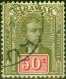 Sarawak 1918 50c Olive-Green & Carmine SG60 V.F.U