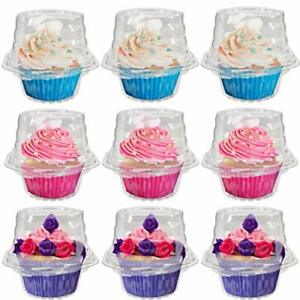 50 Pack Individual Cupcake Boxes, Connected Single Clear Plastic Cupcake 50pcs
