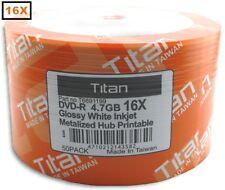 100-Pak =SEMI-GLOSSY= Titan 16X White Inkjet Hub DVD-R's, Titan T6891199