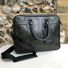Ted Baker Messenger Bag Laptop Leather Black Grey Leopard Pattern Work Satchel