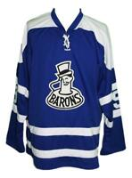 Any Name Number Size Cleveland Barons Retro Custom Hockey Jersey Blue