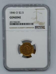 1846-O US Gold $2.50 Liberty Head Quarter Eagle - NGC  Genuine