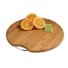 Round Bamboo Chopping Board With Metal Handle Worktop Protector Serving Platter