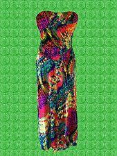 G656 ✪ colorida Pop Art 60er 70er años Boho hippie Maxi vestido dress talla 40 42 44