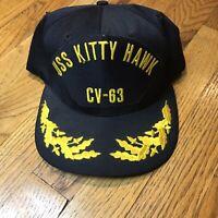 Vintage USS Kitty Hawk CV-63 Snapback Hat Cap Made in USA Oak Leaves LNC