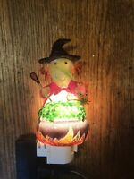 Glass Halloween Witch Night Light