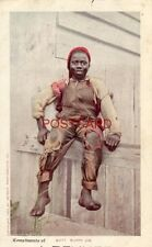"""Cpyrt 1902 Detroit Photographic  """"SUNNY JIM"""" barefoot boy sits on fence Pre-1907"""