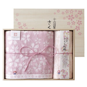IMABARI KINSEI Sakura Monori Wash&Bath Towel Set with Wood Box Made in Japan New