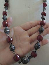 Vintage Cherry Amber Bakelite Faturan Old Silver Beads 82 GRAMS