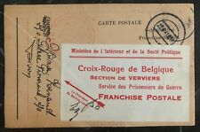 1941 Belgium Red Cross Parcel Postcard Cover To Germany POW Camp Stalag 8A