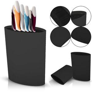 Knife Block Holder Universal Knife Block Oval knife Block Stand Rack Black