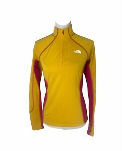 Women's size small north face Yellow And Pink 1/2 Zip thermal long sleeve shirt