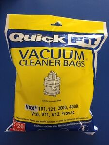 VAX VACUUM CLEANER BAGS FILTER SUITS 121, 2000, 4000, V10, V11, V12, SUKKA & VHN