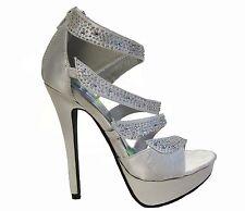 Silver Rhinestone Platform Open Toe Stiletto Heels Sandals Shoes 5.5