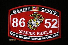 MOS 8652 RECON TRAINING PARACHUTE QUALIFIED PATCH US MARINES PIN UP COIN WOW