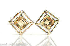 9ct Gold Citrine Stud earrings Gift Boxed Made in UK