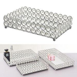 Crystal Cosmetic Tray Decorative Vanity Mirrored Jewelry Trinket Organizer Trays