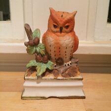 Royal Crown Brown Ceramic Owl Figurine Statue