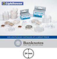 100 Coin Capsules Lighthouse Direct Fit 24 MM Holders US Quarter Size Free Post