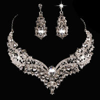 New Wedding Bridal Queen Shiny Rhinestone Necklace Earrings Jewelry Set Clever