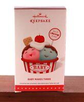 "Dated 2015 Hallmark Keepsake Ornament  ""Baby Makes Three"" With Box"