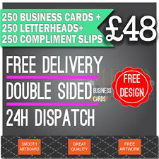 250 Business Cards, 250 Letterheads, 250 Compliment Slips, FREE ARTWORK