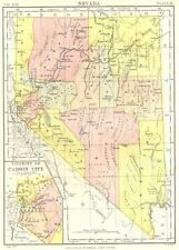 NEVADA. State map showing counties.Inset Carson City.Britannica 9th edition 1898