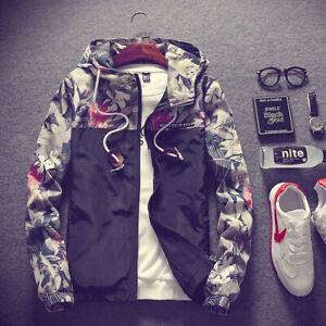 New Men's Casual Camo Thin Hooded Jacket Wind Breaker Wind Coat Zipper Hoodie