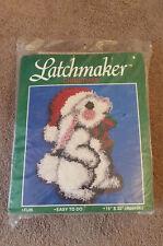 "Latchmaker Christmas Holiday Bunny 15"" X 22"" Latch Hook Kit 1993 Santa Hat New"