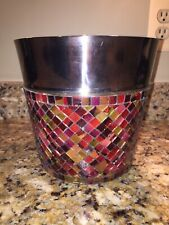 Pier 1 Imports Metal Glass Mozaic Wastepaper Basket Trash Can