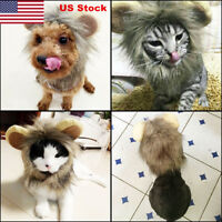 US Pet Cosplay Costume Lion Mane Wig Hat for Dog Cat Halloween With Ears Party