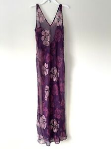 Vintage Frederick's of Hollywood Illusion Nightgown Floral W Ruffles Back Side M