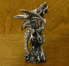 "GSC Silver Look DRAGONS #71384-C  NEW from Retail Store,  4"" high resin"