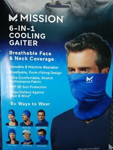 Mission 6-In-1 Cooling Gaiter - Breathable Face & Neck Coverage (Blue)