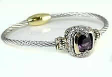 Bali Designer CZ Purple Amethyst Silver Gold Cable Magnetic Bangle Bracelet